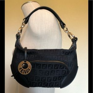 Fendi Zucca Canvas Leather Monogrammed Small Hobo